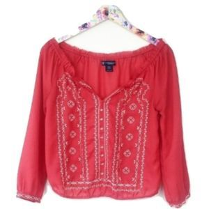 AEO Coral Embroidered Crop Peasant Blouse